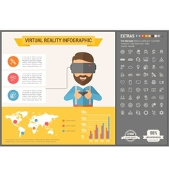 Virtual reality flat design infographic template vector