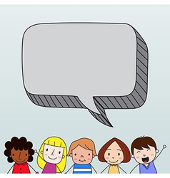 Children with speech bubble vector image