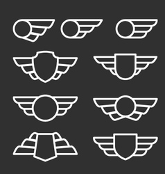 Winged badges and emblems in simple style vector