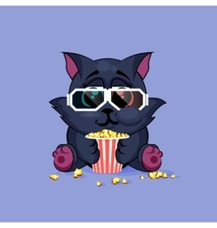Black cat watching a movie vector