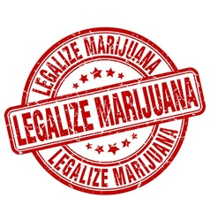 Legalize marijuana red grunge round vintage rubber vector