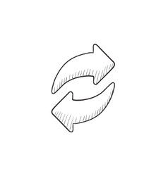Two circular arrows sketch icon vector