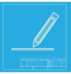 Pencil sign  white section of icon on vector