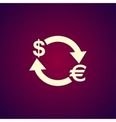 Money convert icon euro dollar vector