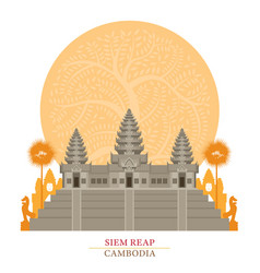 Angkor wat siem reap cambodia with decoration vector