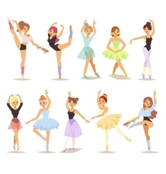 Ballerina dancers set vector