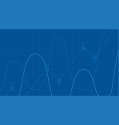 blue grid background with abstract graph waves of vector image vector image