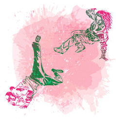 Break dance dancer on handcrafted splashes vector