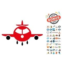Cargo Plane Icon with 2017 Year Bonus Symbols vector image