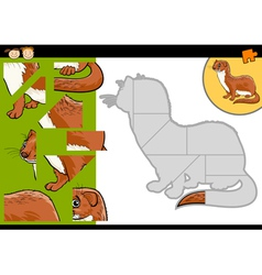 Cartoon weasel jigsaw puzzle game vector