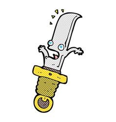 Comic cartoon frightened knife vector