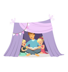 Dad reading a book to her children while sitting vector
