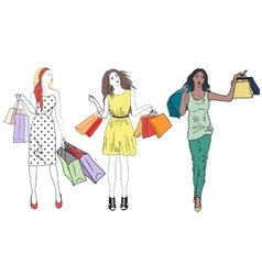 fashion shopping girls woman set Group of happy vector image