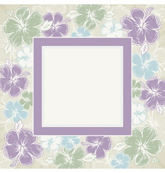 frame of hibiscus on brown background illu vector image vector image