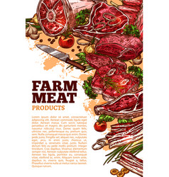 fresh meat product of organic farm banner design vector image vector image