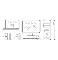 gadgets in thin line style vector image
