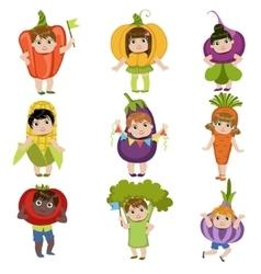 Kids dressed as vegetables vector