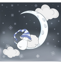 Lovely lamb and a moon cartoon vector