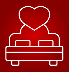 Lovers bed with heart line icon valentines day vector