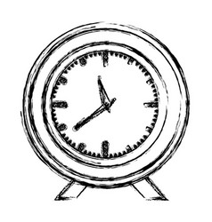 Monochrome blurred silhouette with desk clock vector