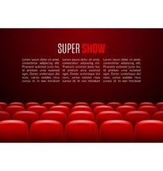 Movie theater with row of red seats Premiere vector image