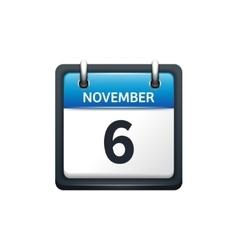 November 6 Calendar icon flat vector image vector image