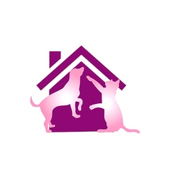 Pet house cat and dog logo vector