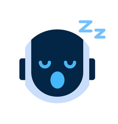 Robot face icon napping tired face emotion robotic vector