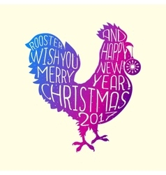 Rooster wish you Merry Christmas and Happy New vector image vector image