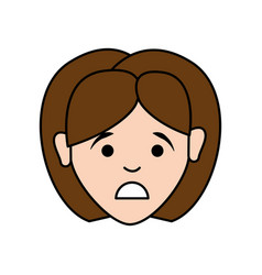 Sad woman with hairstyle and elegant blouse vector