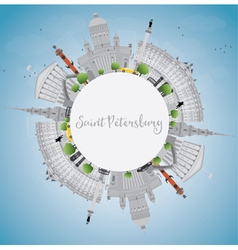 Saint petersburg skyline with gray landmarks vector