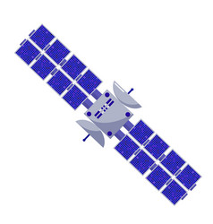 Satellite flat style isolated space objects on a vector