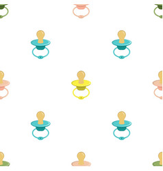 Seamless pattern with baby pacifier vector