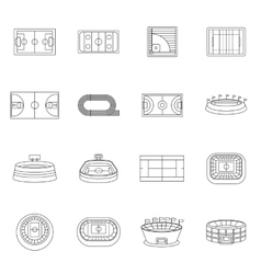 Sport stadium icons set outline style vector image vector image