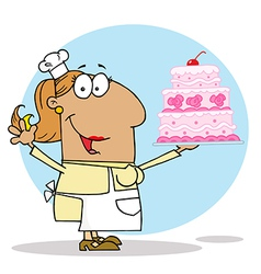 Tan Cartoon Cake Maker Woman vector image vector image