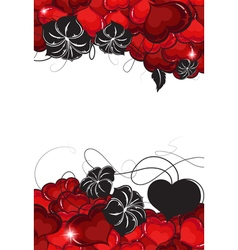 Valentines day hearts and flowers silhouettes vector