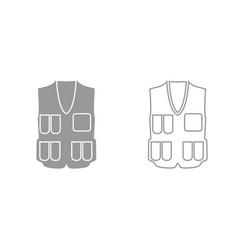 waiscoat grey set icon vector image