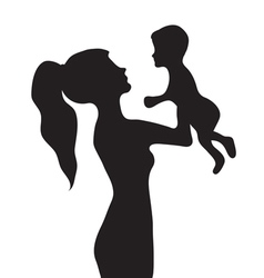 Woman with a baby silhouette girl holding baby vector