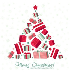 Shape christmas tree made of gift boxes vector