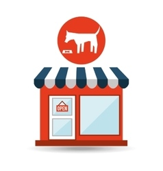 Pet shop with eating dog vector
