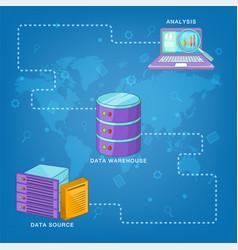 Data base concept route cartoon style vector