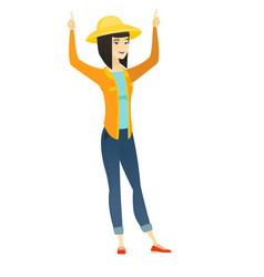 farmer standing with raised arms up vector image