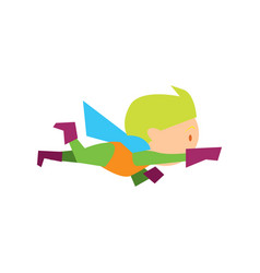 Flying kid in superman costume vector