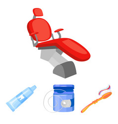 dental floss toothbrush toothpaste dental chair vector image