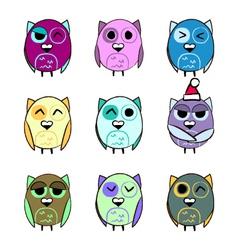 Colorful set Christmas owls vector image