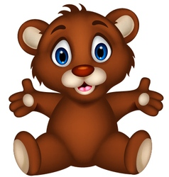 Cute baby brown bear cartoon sitting vector