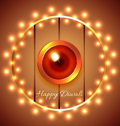 Happy diwali diya background vector