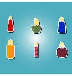 Set of color icons with candles vector