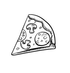 Black and white slice of pepperoni pizza vector