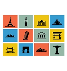 Destination icon set vector